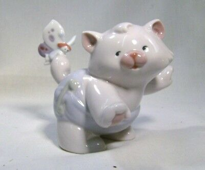 "LLADRO/NAO  Cute Cat with a butterfly on its tail ""That tickles"""