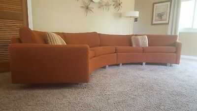 Vintage Mid Century Modern Milo Baughman/Coggin Rust Curved Sectional Sofa 1960s