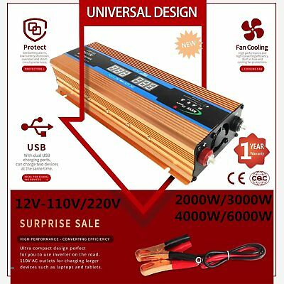 2000W-6000W Peak Car LED Power Inverter 12V-110V/220V Pure Sine Wave Converter M