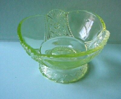 Antique EAPG Vaseline Glass ice-cream dish Richards Hartley Daisy& Button & fan