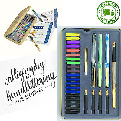 Calligraphy Pen Set with Nibs Starter Kit Letter Cartridge Ink Pens Pad Included