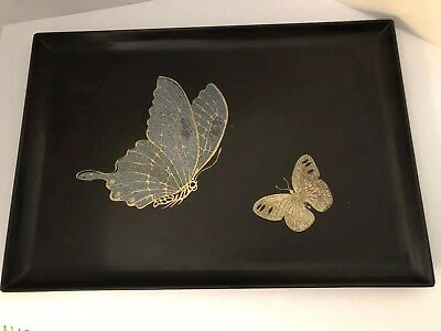 """Vintage Couroc of Monterey CA Large Tray Butterflies 17.5"""" X  12"""""""