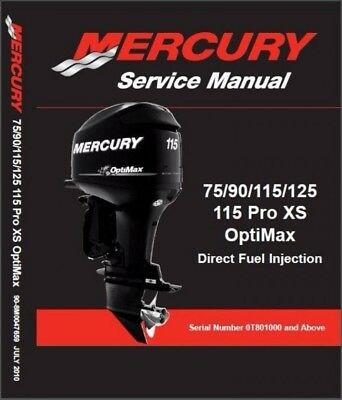 Mercury 75 90 115 115 Pro XS / 125 OptiMax Outboard Motors Service Manual on CD
