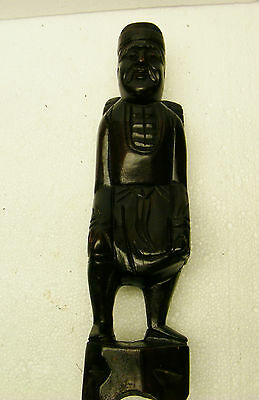 """Vintage Hand Carved Wooden 12"""" Oriental Man Ornament Statue Chinese/Japanese??"""