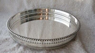 Quality Stunning Vintage Silver Plated  Round Gallery Edge Serving Tray