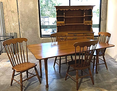 6 Piece Vintage CONANT BALL Dining Room Set Solid Maple Farmhouse Colonial 3421