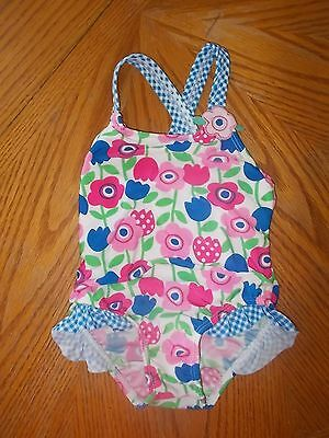 Girls Size 24 Months Faded Glory Floral Print 1-Piece Swimsuit