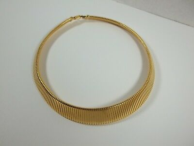 Vintage Genuine Monet Signed Gold Tone Egyptian Style Collar Choker Necklace