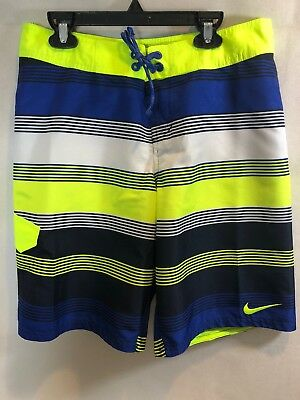 NIKE Boys Board Shorts Swim Trunks Striped Youth XL Blue Yellow White NWT!