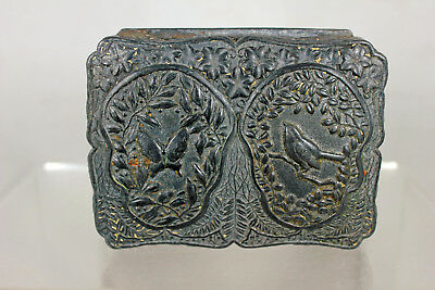 Antique Japonisme Aesthetic Small Metal Trinket Box As Is