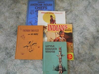 5 vintage Native American books - Story of the Plains Indians, Famous Chiefs...
