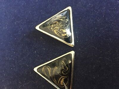 Vintage Black Gold Triangle Enamel Earrings - Clip On Lot 8.1786