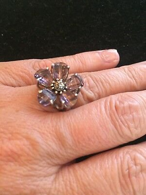 Vintage Antique Amethyst Flower Sterling Silver Ring Prong Set Gorgeous! 8.1670