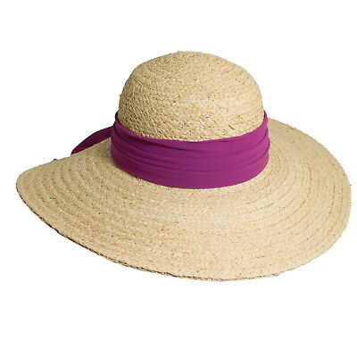 531e6818c3a Ladies Scala Big Brim Braided Raffia Hat with Raspberry Scarf One Size LR566