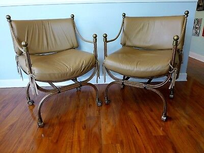 2 Tan Leather Curule Savonarola Chairs Mid Century Iron Bronze Campaign Armchair