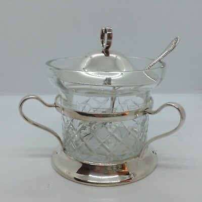 Vintage William Suckling & Son Silver Plated & Glass Preserve Jar