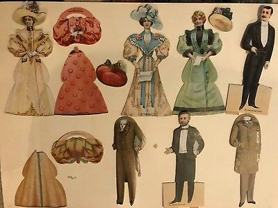 Lot 17 Victorian Die Cut Dolls Hats Advertising Trade Cards McLaughlin's Coffee