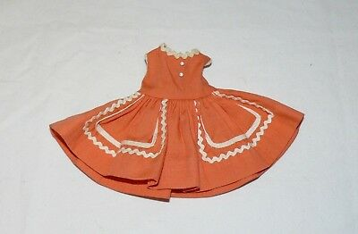 "1950s Vintage Doll Clothes Orange Dress Wendy Kin Madame Alexander, 8"" Labeld"