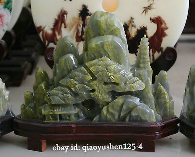"""13.4"""" Chinese Natural Soapstone Xiu Jade HandCarved Pine Tree Landscape Statue"""