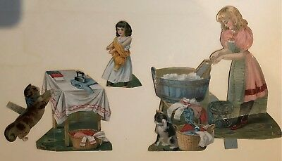 Lot 5 1800's Die Cut Laundry Cat Dolls Trade Cards McLaughlin's Coffee