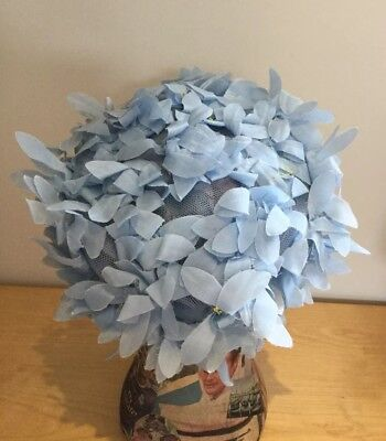 1950s Pale Blue Hat With Flowers, Vintage