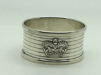 Sterling Silver Napkin Ring Holder No Monogram Applied Crown H.C. & S