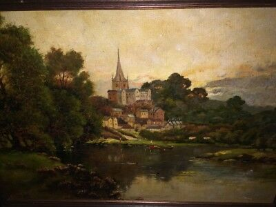 Stunning19th Century Antique  Oil Painting Cathedral Rural Scene, Framed