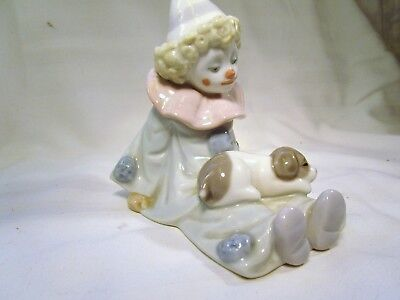 LLADRO  Clown with his Dog He is dressed in Blue