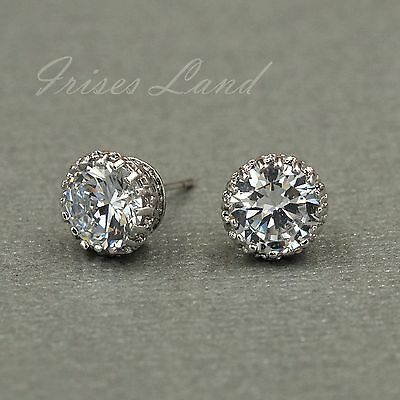 18K White Gold Plated Clear Cubic Zirconia CZ Wedding Crown Stud earrings 08125