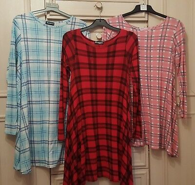 3 x Ladies Size 12-14 Long Sleeved Checked Swing dresses