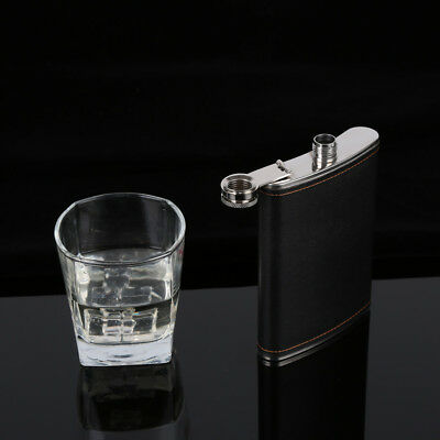 5-9OZ Stainless Steel Pocket Hip Flask Alcohol Whiskey Liquor Screw Cap PU Cover