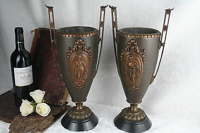 PAIR French antique spelter metal with bronze art nouveau lady ornaments VASES
