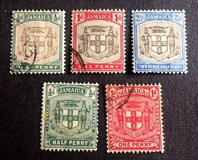Jamaica 5 very old used stamps coat of arms