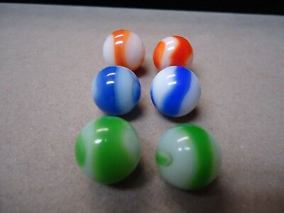 6 Vintage Akro Agate Company Corkscrew Marbles  5/8  To  11/16  Mint +