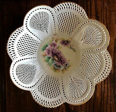 Vintage Transitpor Hand Made Romanian Porcelain Bowl with Handpainted Florals
