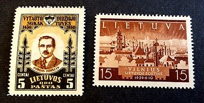 Lithuania Lietuva 1930 & 1940 - 2 top old unused hinged stamps