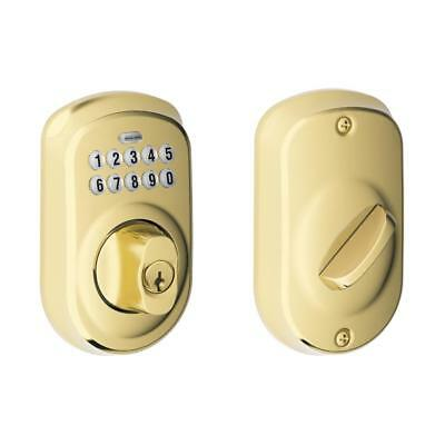 Schlage BE365 Plymouth Bright Brass Single-Cylinder Deadbolt With Lighted Keypad