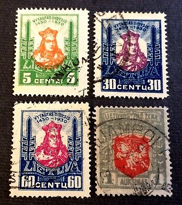 Lithuania Lietuva 1919 & 1930 - 4 nice old used stamps