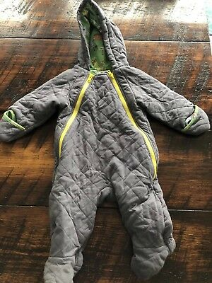 Baby Boden Quilted Gray Snowsuit/Pramsuit Size 6-12 Months