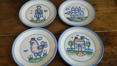 """SET of 4 Handpainted M.A. Hadley Pottery 11"""" Dinner Plates Farm Ship Rooster EUC"""