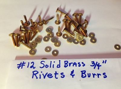 "SIZE #12 SOLID BRASS RIVETS & BURRS/WASHERS 3/4"" Long_Pack of 12 Sets U.S SELLER"