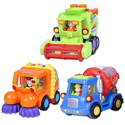 Friction Powered Push and Go Cars, Construction Vehicles Truck Set Toddlers Toy