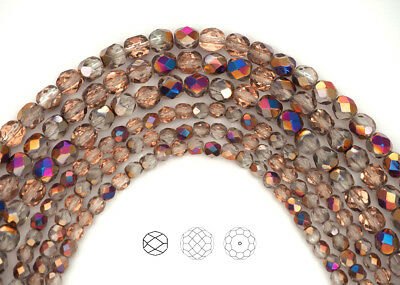 Czech Fire Polished Round Faceted Glass Beads in Crystal Sliperit pink metallic