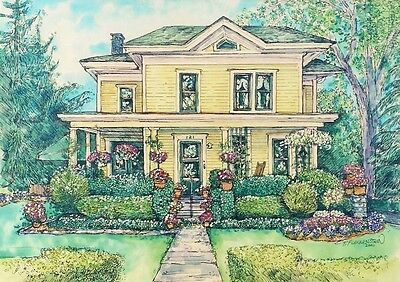 CUSTOM HOUSE PORTRAIT, Watercolor & Pen/Ink Original Painting of Your Own Home