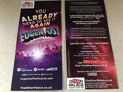 2x flyer / handbill / Leaflet EUGENIUS  New Musical The Other Palace Theatre