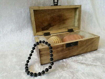 Shungite Bracelet (d-8mm) on elastic with Round Flat Silver 4mm