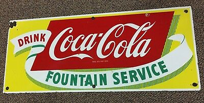 Vintage Porcelain Coca-Cola Fountain Service Sign