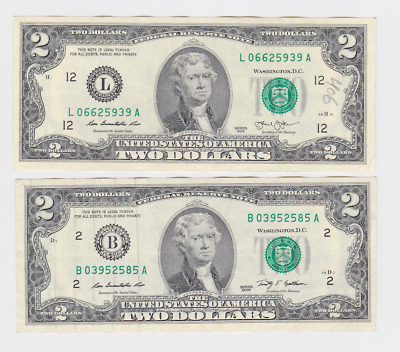 Usa , $ 2,2  ,2003 , 2009, Legal Tender . 2 Pcs  , Collectable Item ,  See Scan
