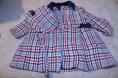 Kute Kiddies Vintage Child's Coat and Bonnet blue and red plaid