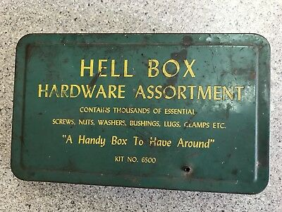 Vintage Advertising Tin Unusual HELL BOX Collectible Garage Hardware Assortment